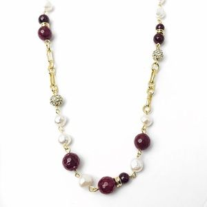 sequin-nyc Jewelry - Multi Faceted Beads Crystal Pearl Chain Necklace